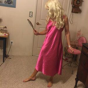 Vintage hot pink satin nightgown